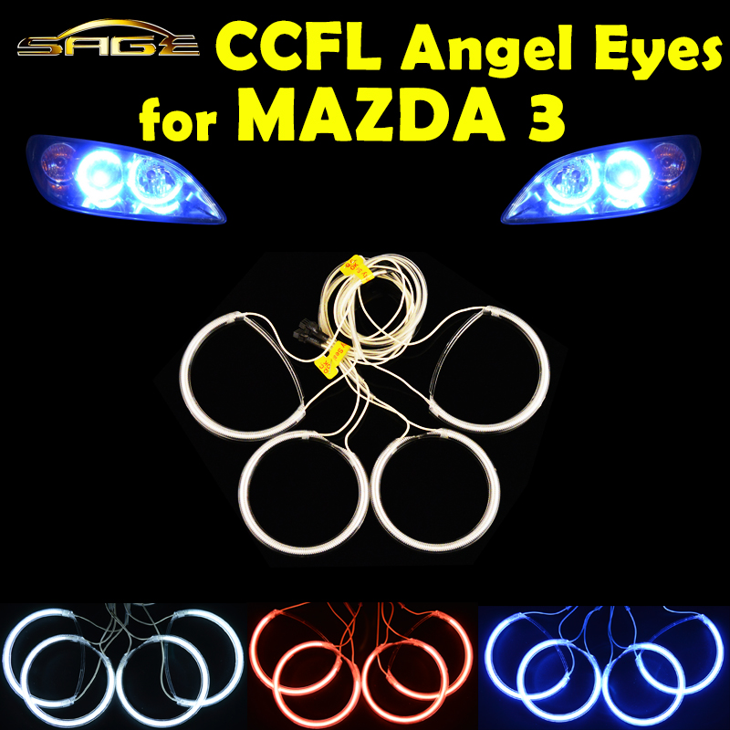 все цены на  flytop 4 PCS/SET CCFL Angel Eyes for 2004-2008 MAZDA 3 Headlight HALO Rings Kit Head Lamp Decoration Color White Red Blue  онлайн