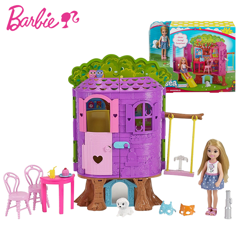 Poupées Barbie originales princesse Kelly arbre maison jouet histoire maison fille anniversaire pour enfants cadeaux mode pour filles bonecas