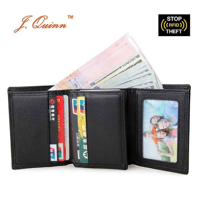 J.Quinn Black Trifold RFID Blocking Men Genuine Cow Leather Wallet with Flap ID Card Passcase Small Money Dollar Purse for Mens