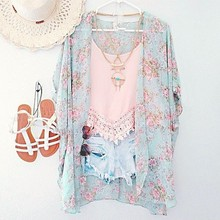 Cardigan Kimono Floral Blouse