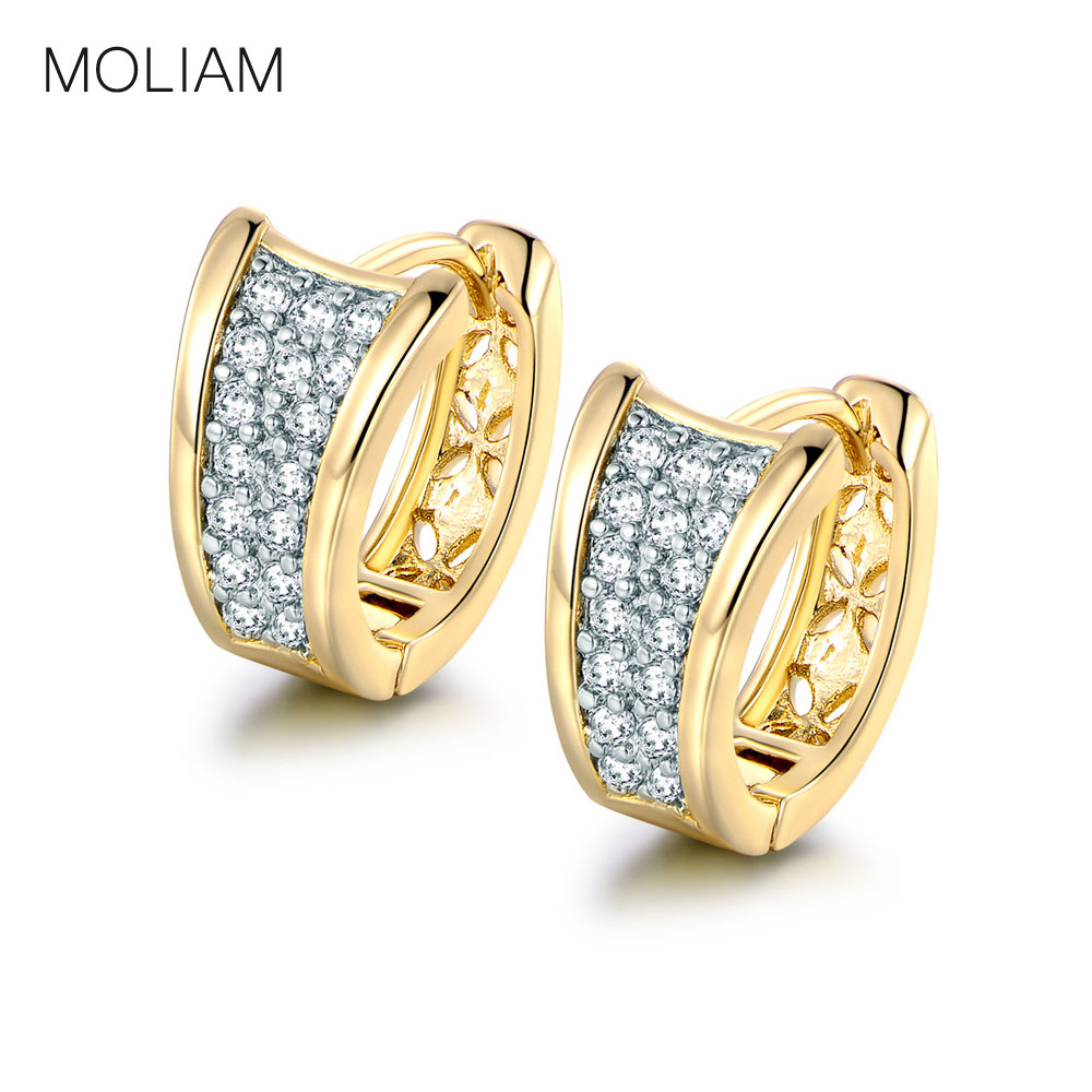 MOLIAM Fashion Hoop Huggie Earrings For Women Shining Stone Crystal Earings Trendy Jewelry Earing Ladies Party Brinco MLE103