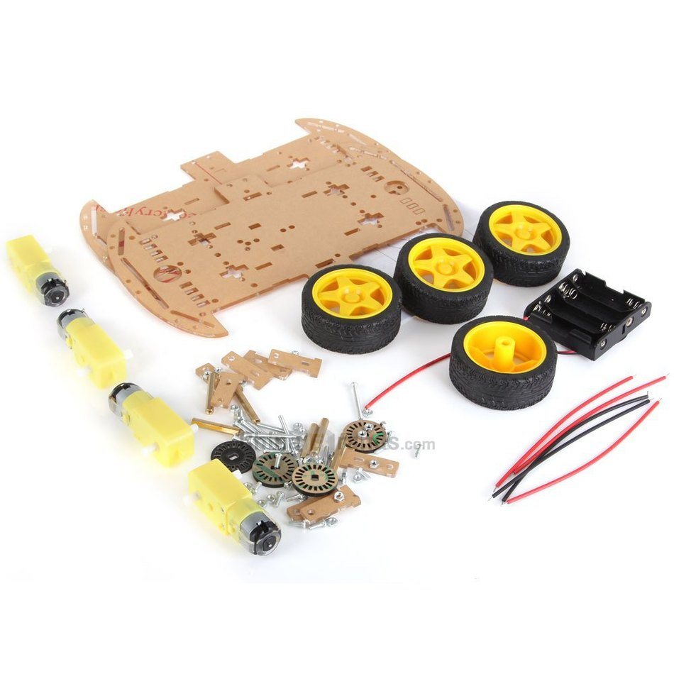 ФОТО ZK-4 Motor DIY Smart Robot 4WD Car Chassis Tracking Car Box Kit Speed Encoder with Battery Box for Arduino