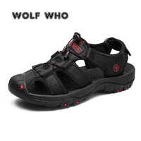 WOLF WHO Brand 2019 Summer New Genuine Leather Men Beach Shoes Men's Sandals Fashion Male Sandals Slippers Big Size 38 47 A 011