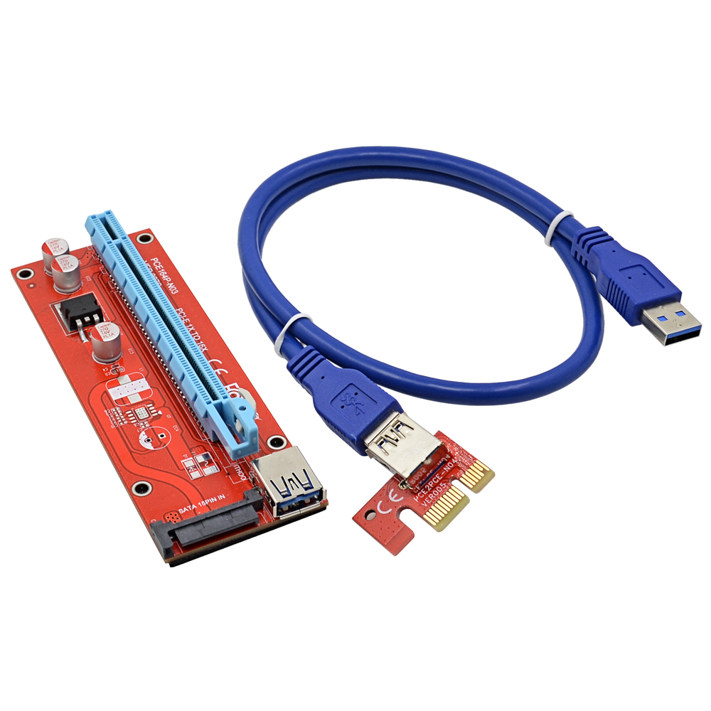 bilder für NOTAYO 100 teile/los 60 CM PCI-E 1X zu 16X Extender PCIE Riser Card mit 15Pin SATA Buchse Power Interface + USB 3.0 Datenkabel