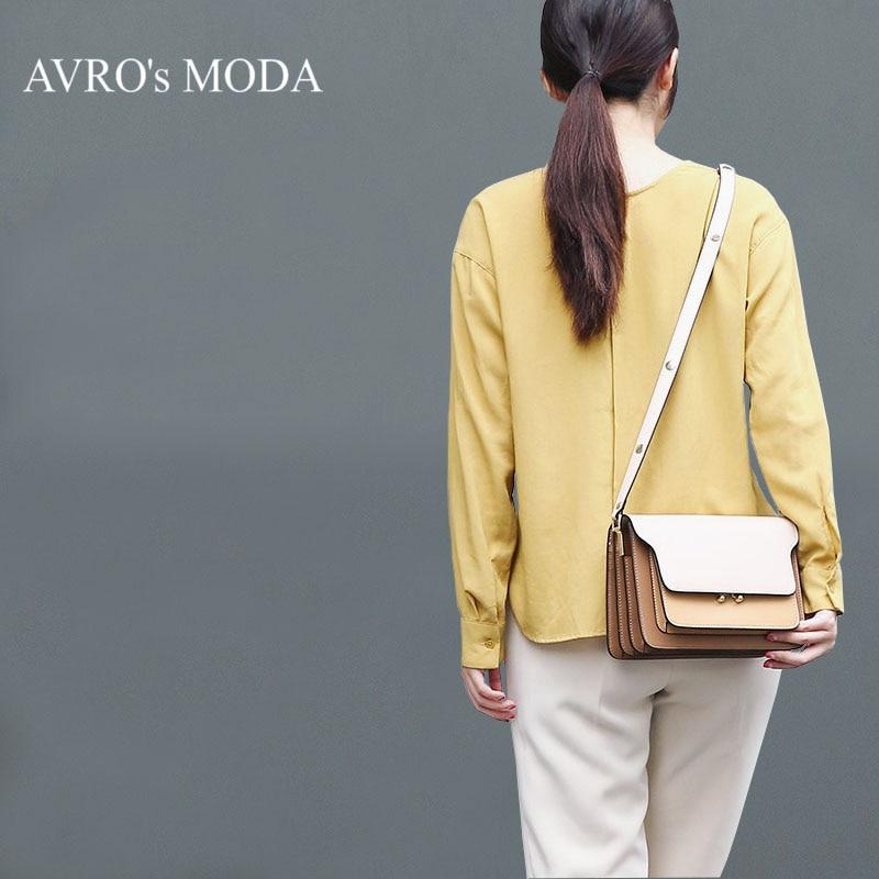 Avro의 moda 브랜드 디자이너 정품 가죽 숄더 가방 2019 여성용 패션 크로스 바디 대용량 레트로 메신저-에서탑 핸드백부터 수화물 & 가방 의  그룹 1