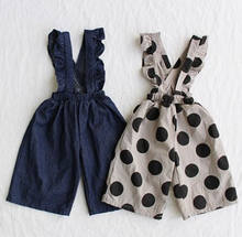 Kids Baby Girls Clothes Denim Overalls Ruffle Strap Romper Polka Dot Jumpsuit Outfits(China)