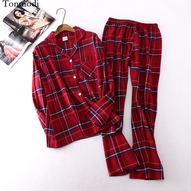 2b45b75fca Women's pajamas Long sleeves sleepwear Cotton Woven flannel Pajamas Set  Plaid Womens Pyjamas trousers pajama Set