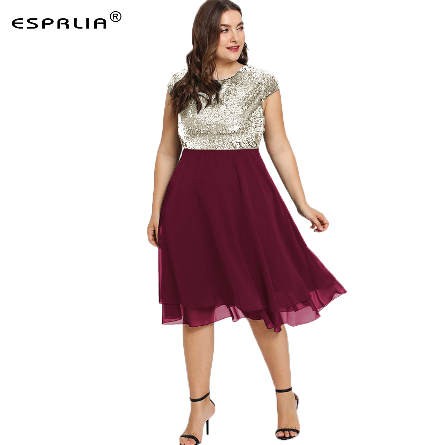 US $21.99 |ESPRLIA Womens Plus Size Sequin Short Cap Sleeve Holiday Party  Homecoming Midi Black Dress 3XL 4XL 5xl-in Dresses from Women\'s Clothing on  ...