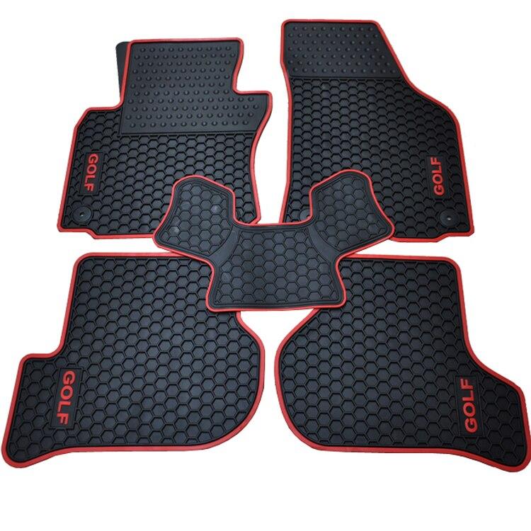 Noir avec ligne rouge et logo de GOLF tapis de sol en caoutchouc + tapis de coffre arrière pour GOLF 7 en italie