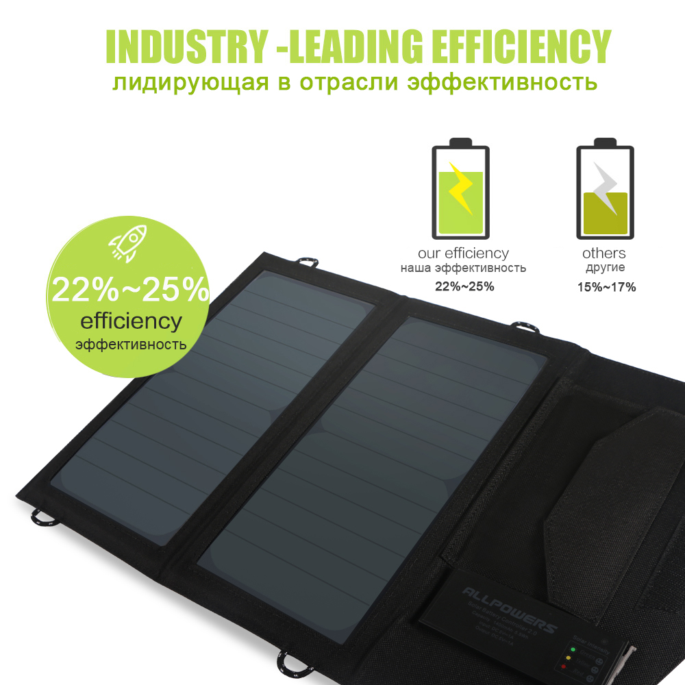 ALLPOWERS Newest Rechargeable Solar Panels Charger for iPhone X iPhone 7 Honor Xiaomi Samsung Huawei HTC LG Oppo Vivo.