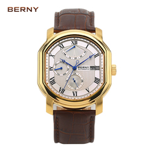 BERNY 2017 New Famous Gold Mechanical Male Clock Men's Watches the Best Luxury Brand Watch Irregular Megire Automatic Watches