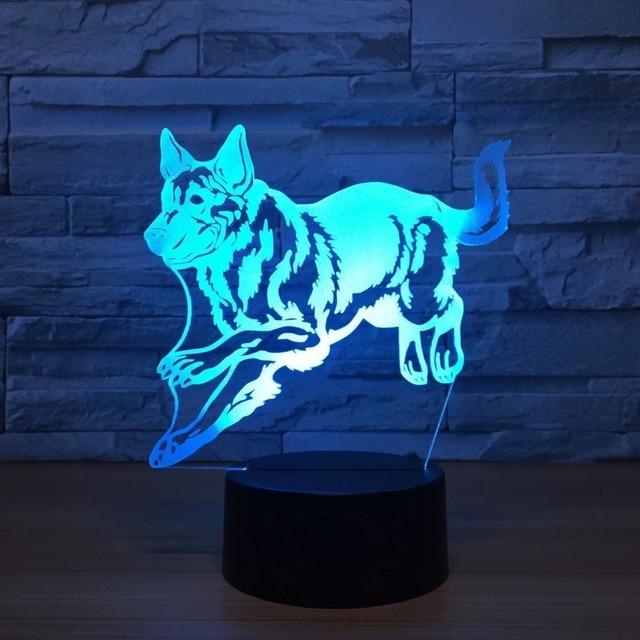 German Shepherd Running Dog 3D Night Lamp Hologram 3D Decor Lamp ...