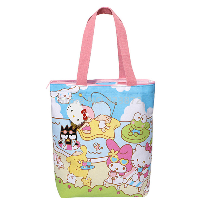 Cute Hello Kitty Canvas Bag Women Shoulder Bags Handbag Melody Little Twin Stars
