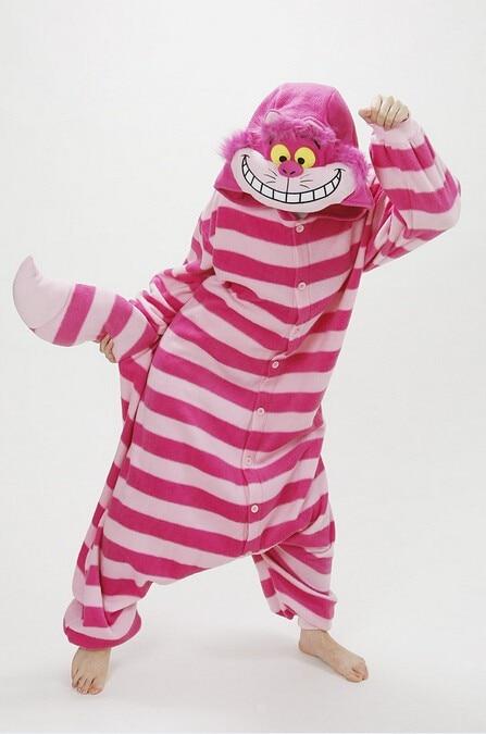 4c0017e7e2 Free Shipping Winter New Sleepsuit Adults Cartoon Cheshire Cat Onesies  Unisex Onesies Pajamas Cosplay Costumes