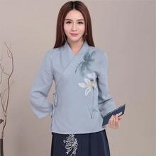 The new Chinese wind hand-painted prints improved tea clothing cotton coat Hanfu female China blue hemp hanfu only tops