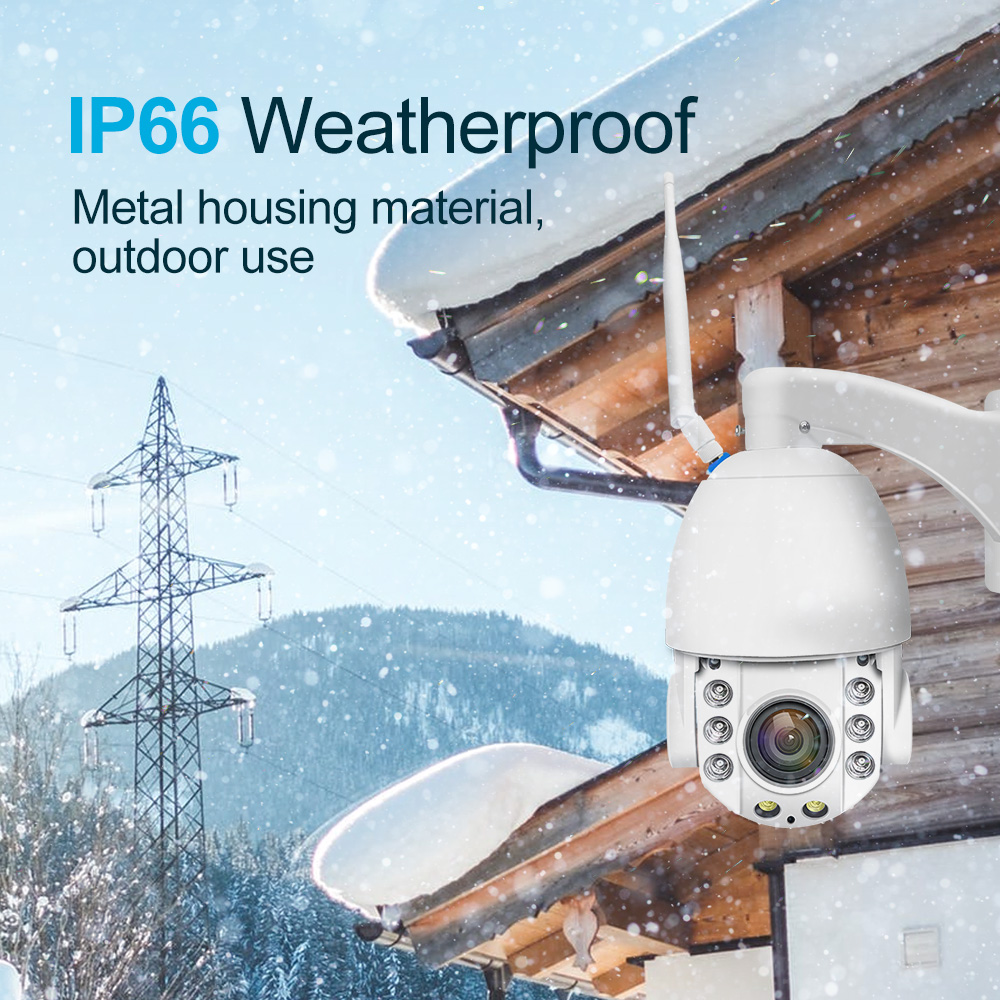 1080P Full HD CCTV Camera x20 DIgital Zoom PTZ IP66 Weatherproof IP Camera Two Way Audio Talk Back Outdoor Wfi Wireless Camera image
