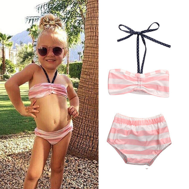 0-5Y Bowknot Baby Girl Kids Bathing Suit Swimwear Bikini Set Tankini Swimsuit Costume swimsuit swiming swim new