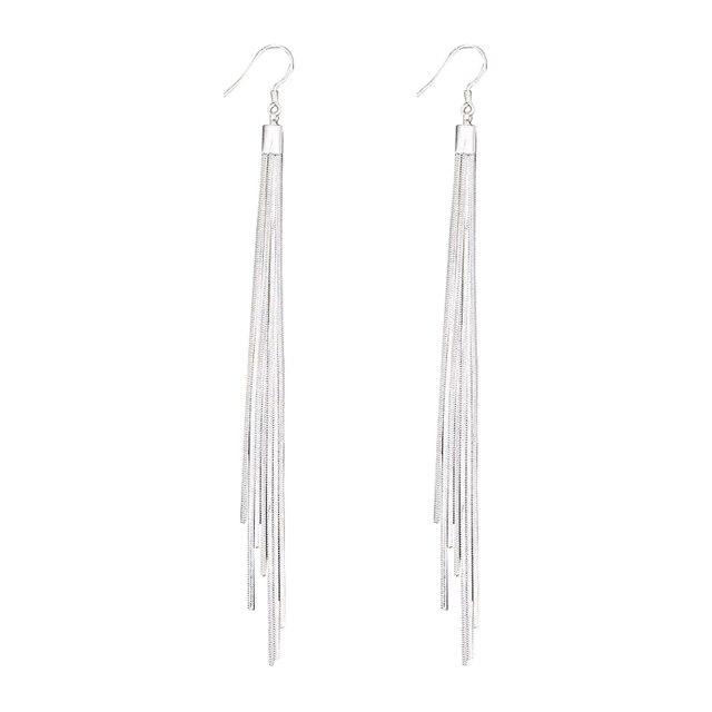 Pixnor Long Linear Tel Earrings Silver Drop Earring Dangle Chain For Women Female S Jewelery