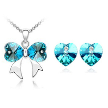 New Rushed Party 2014 Fashion Korean Jewelry Luxury Crystal Ribbon Pendants Necklaces Sets with Heart Stud Earring for Women