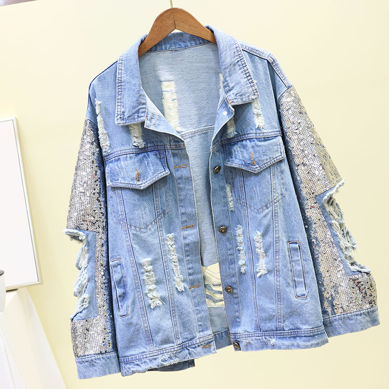 2019 Spring New Heavy Sequins Denim Short Coat Female Loose Personality Hole Cowboy   Jacket   Woman's Streetwear   Basic     Jackets