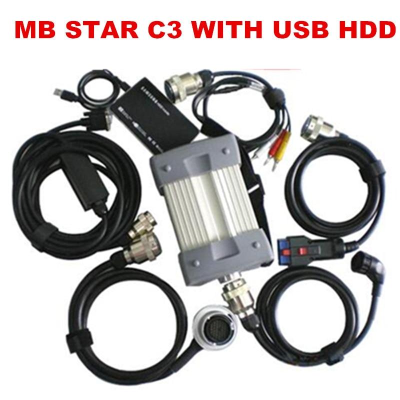 Prix pour 2016.08 Dernière haute Qualité MB Multiplexeur De Diagnostic Testeur MB Étoile C3 ensemble complet avec tous les câbles + Logiciel avec USB 3.0 HDD