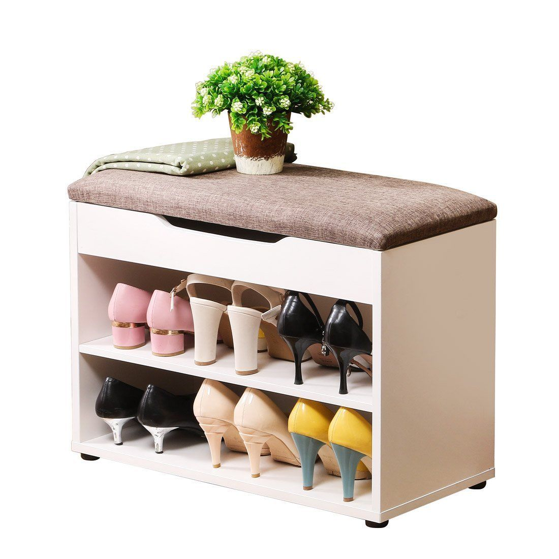 Hall Entryway Storage Bench 2-Tier Shoe Storage Cabinet Linen Top Sofa Style New Wooden