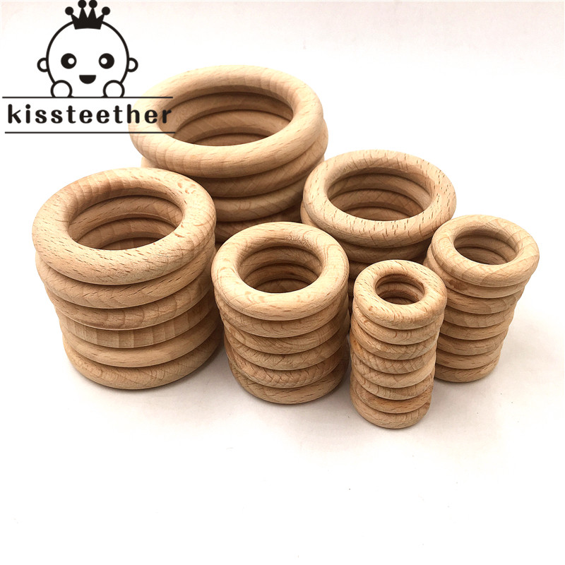25-68mm Nature Beech Wooden Ring Teether Baby Teether Wood Beads Baby Infants Teething Care Product DIY Wooden Teethers Necklace