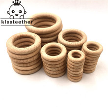 25-68mm Nature Beech Wooden Ring Teether Baby Teether Wood Beads Baby