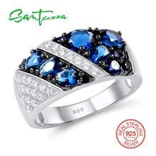 Серебряное кольцо для Для Женщин Синий Nano Цирконий белый кубического циркония Для женщин кольцо стерлингового серебра 925 партия Модные украшения