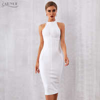 ADYCE 2019 New Summer White Women Bandage Dress Vestidos Elegant Tank Sexy Sleeveless Bodycon Club Dresses Celebrity Party Dress