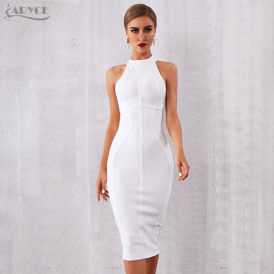ADYCE 2019 nouveau été blanc femmes Bandage robe élégant réservoir Sexy sans manches moulante Club robes célébrité robe de soirée