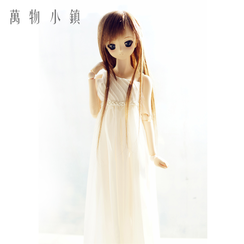 New White Sleeveless Chiffon Dress For 1/3 1/4 BJD MSD Doll Clothes BJD Accessories pretty white lace dress for bjd doll 1 6 yosd 1 4 msd 1 3 sd16 dd luts dod as dz doll clothes cwb96