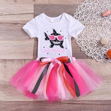 Cute Baby Girl Toddler Kid Girls Clothes Shorts Sleeve Shark Romper Tops TUTU Skirt Princess 2PC Outfit Set