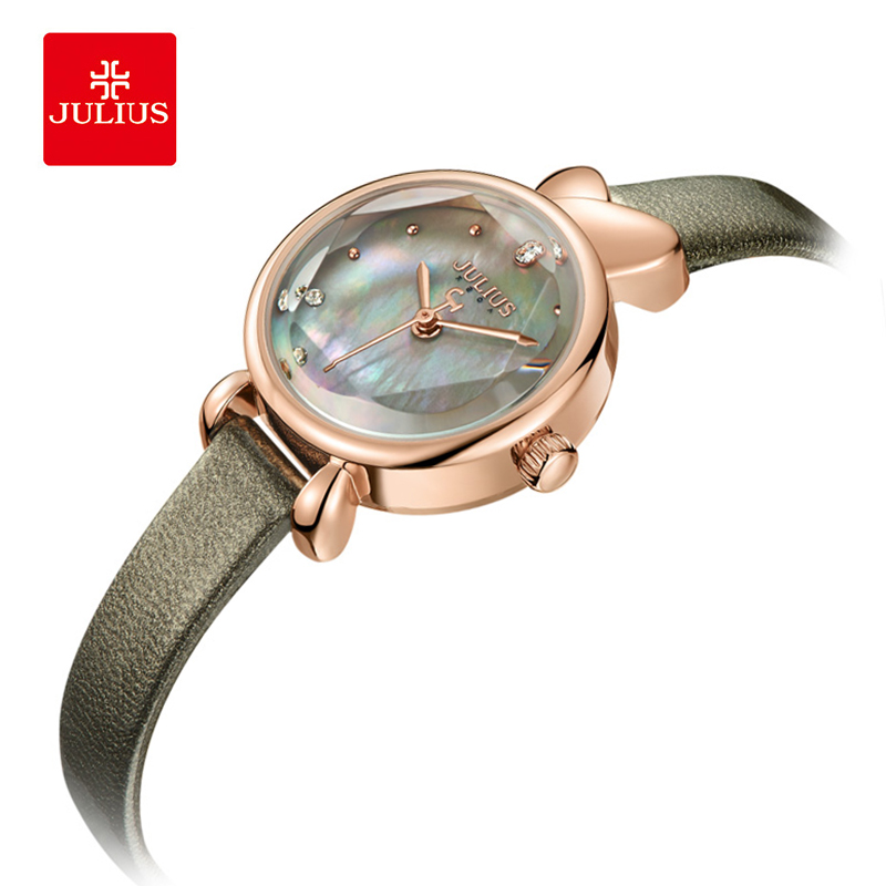Julius Woman Seashell Surface Leather Watch Rhinestone Round Waterproof Quartz Wristwatches Fashion Student Watches Girl Gift фаркоп skoda octavia scout 07 без электрики