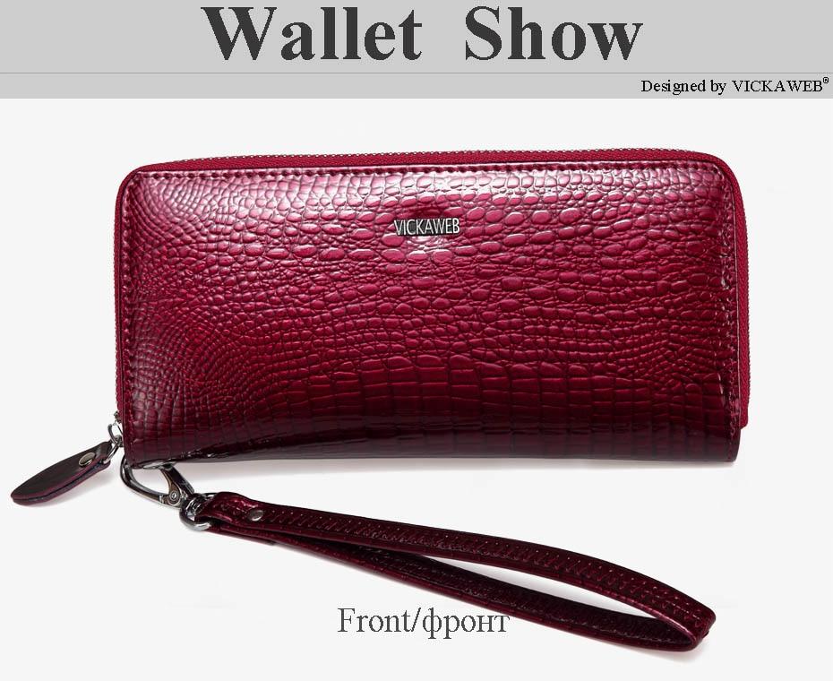 VICKAWEB Wristlet Wallet Purse Genuine Leather Wallet Female Long Zipper Women Wallets Card Holder Clutch Ladies Wallets AE38-013