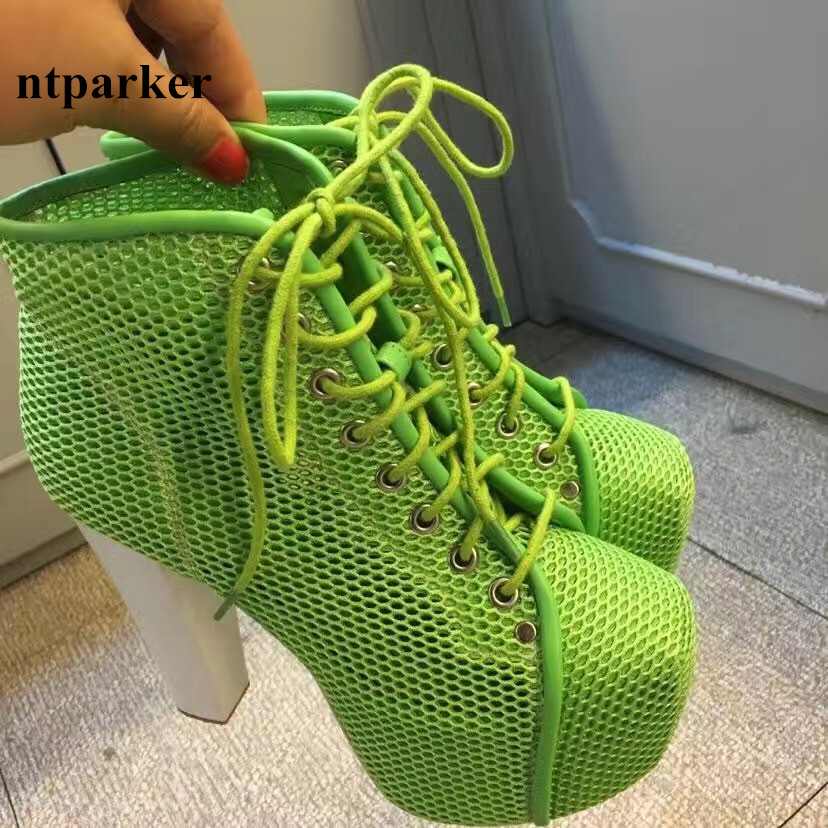 Wholesale Women Platform Summer Ankle Boots Fashion Mesh Chunky HIgh Heels Botas Mujer Cut Out Chaussure Femmes Sapatos Botines