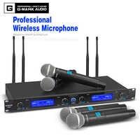 G-MARK Microfono Senza Fili Sistema di G440 Professionale 50 metri A Quattro Canali UHF Dinamico Pro 4 Palmare Mic Karaoke Della Fase Del Partito