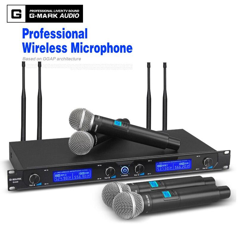 G-MARK sistema de microfone sem fio g440 profissional 50 metros quatro canais uhf dinâmico pro 4 handheld microfone karaoke festa estágio