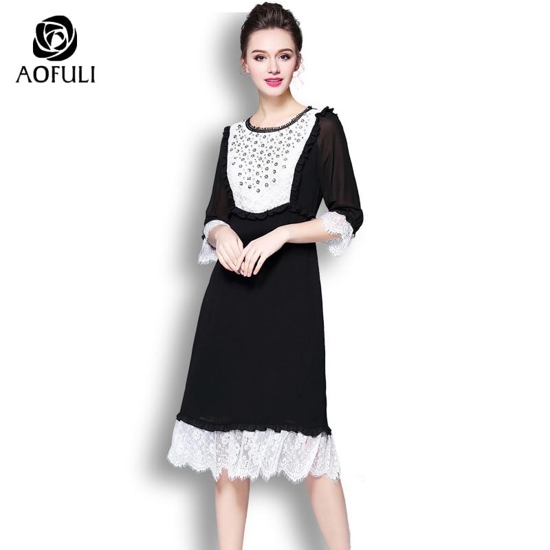 M L XL Vrouwen Zwart Wit Lange Jurk Voor Lente Herfst Mode Half Mouw Ruches Lace Midi Jurk AOFULI 3011-in Jurken van Dames Kleding op  Groep 1