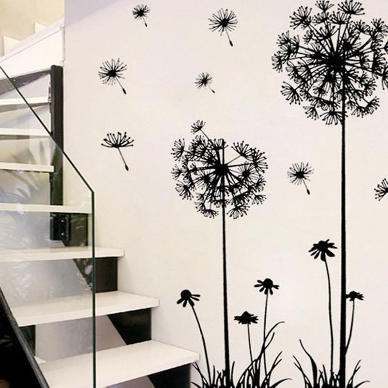 Черный Творческий ПВХ цветок стены наклейки Одуванчик таблички для детей номеров Гостина ...