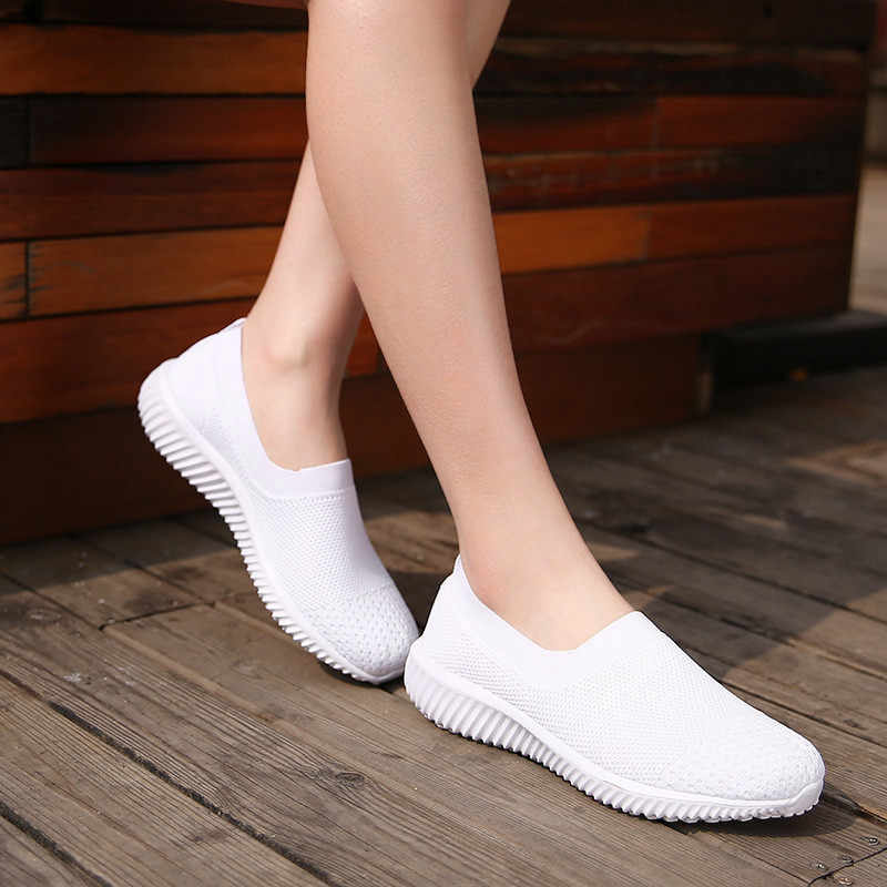 PINSEN 2020 bahar kadın ayakkabı nefes örgü ayakkabı kadın bale daireler üzerinde kayma loafer'lar bayanlar ayakkabı sürüngen Zapatos mujer