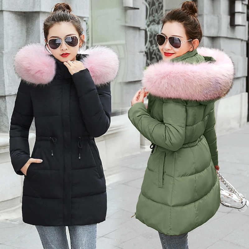 겨울 다운 재킷 여성 2019 가짜 모피 파커 여성을위한 패션 따뜻한 두꺼운 긴 아웃웨어 겨울 코트 캐주얼 여성 자켓 파카