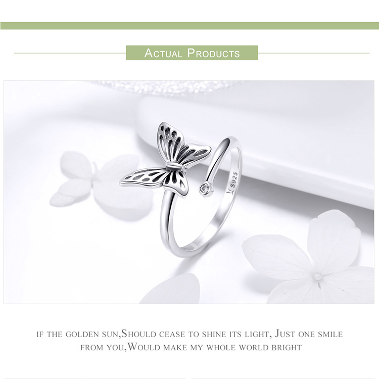 BAMOER Authentic 925 Sterling Silver Vintage Butterfly Adjustable Finger Rings for Women Wedding Engagement Ring Jewelry SCR448