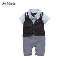 Baby Boy Rompers Pure Cotton Newborn Baby Clothes Gentleman Style Bow Tie Jumpsuit Toddler Boys Clothing