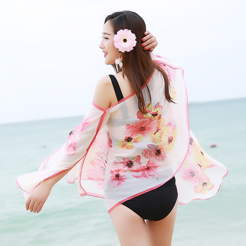2017 New Summer Cover up Large Pareos Chiffon Wrap Shawl Bikini Beach Sarongs For Women Poncho sjaal Scarf Sunscreen Clothing