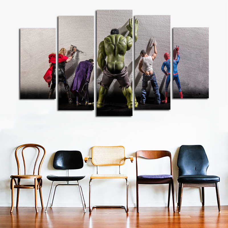 5 Panels /set The Avengers Poster Print Supeheros Canvas Painting Wall Art Pictures For Living Room Boy's Room Unframed