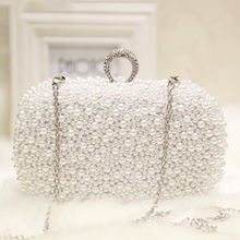 2018 White Pearl Clutch Bag Vintage Beaded Evening Elegant Wedding Bridal Women  Party Female Chains Shoulder