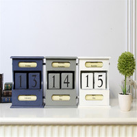 Coloffice Vintage Mediterranean Style Wood Perpetual Calendar DIY Calendar Art Crafts Home Office School Desk Decoration