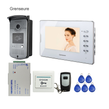 Cheaper FREE SHIPPING New Wired 7 inch Color Video Door Phone Doorbell Intercom System 1 RFID Camera + 1 White Monitor + Remote Control