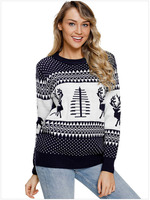 Adult Women Casual Xmas Rib Knit Sweater Christmas Elk Tree Print Pullover Crew Neck Top Fitted Long Sleeves Sweater For Ladies